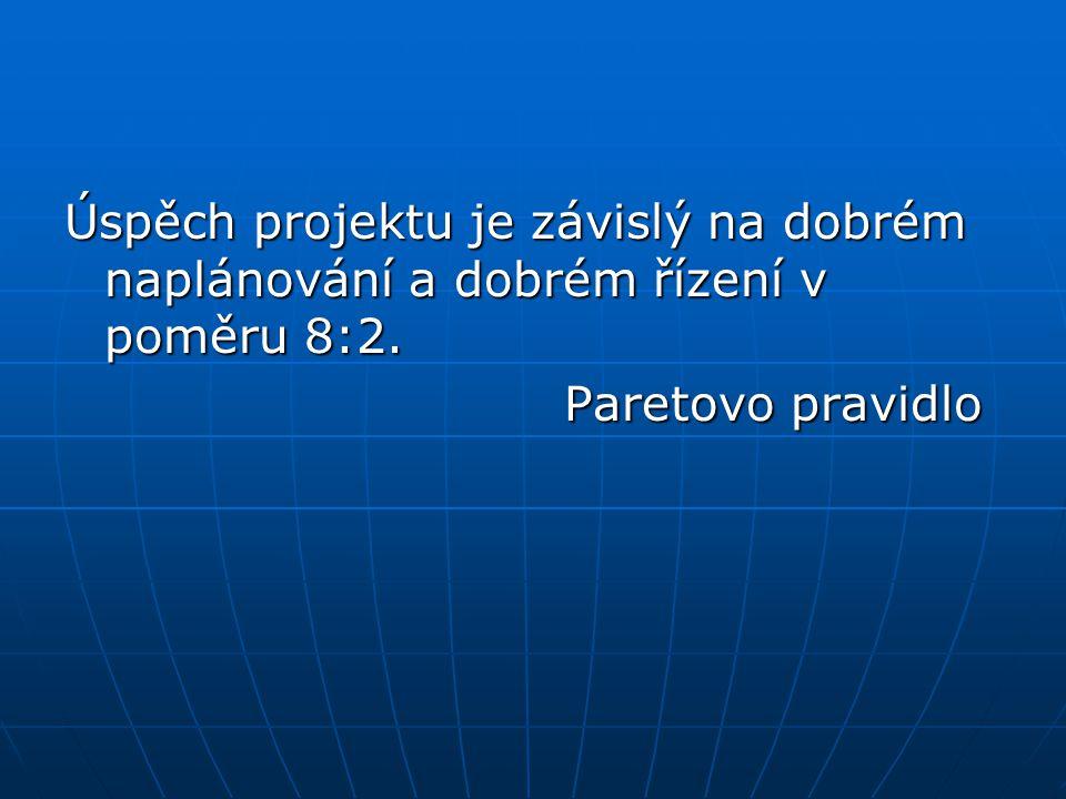 Úspěch projektu je závislý na dobrém naplánování a dobrém řízení v poměru 8:2. Paretovo pravidlo Paretovo pravidlo
