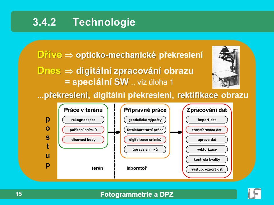 Fotogrammetrie a DPZ 15 3.4.2Technologie Dnes digitální zpracování SW Dnes  digitální zpracování obrazu = speciální SW.. viz úloha 1 překreslenírekti
