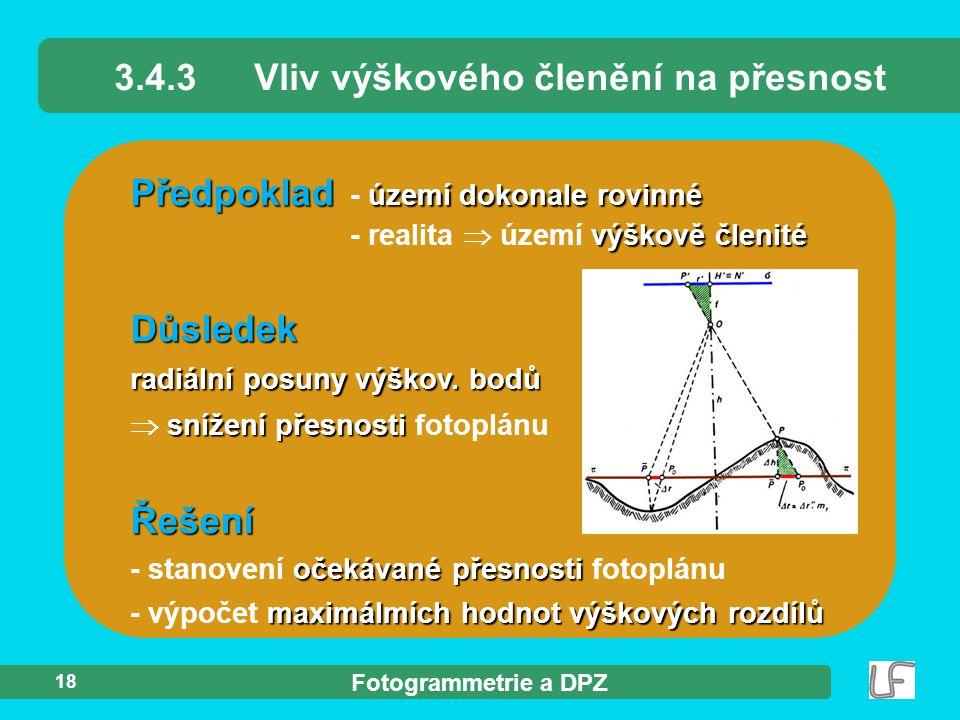 Fotogrammetrie a DPZ 18 Předpoklad území dokonale rovinné výškově členité Předpoklad - území dokonale rovinné - realita  území výškově členité 3.4.3V