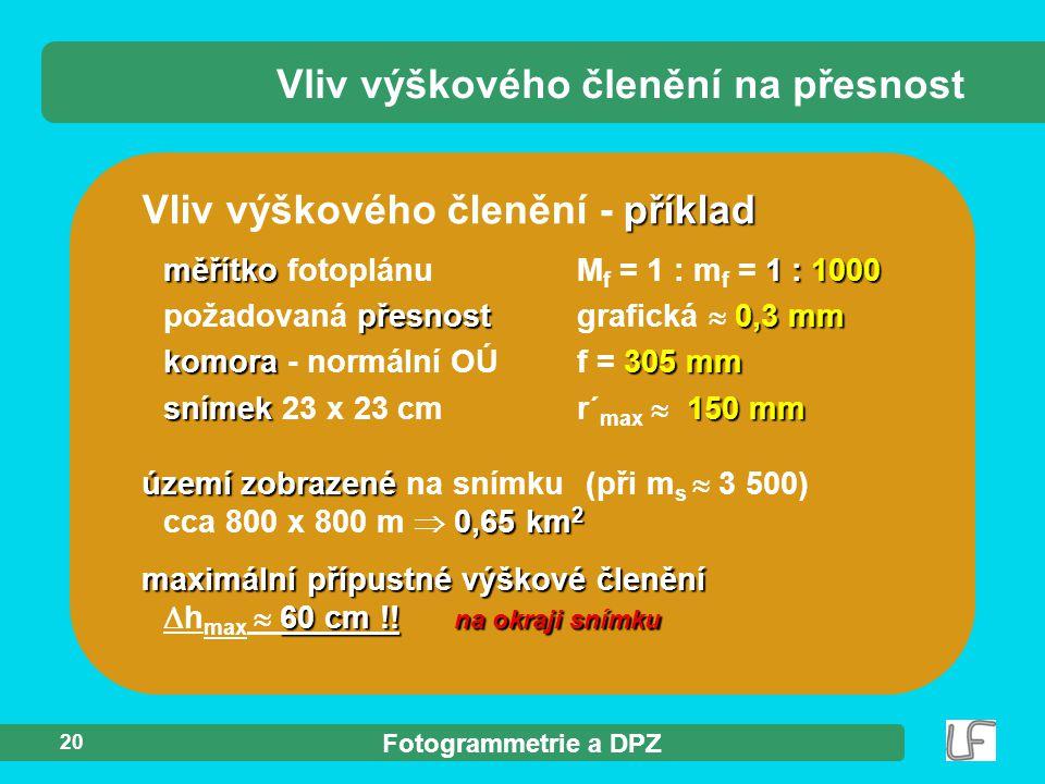Fotogrammetrie a DPZ 20 příklad Vliv výškového členění - příklad měřítko1 : 1000 přesnost0,3 mm komora305 mm snímek150 mm měřítko fotoplánu M f = 1 :