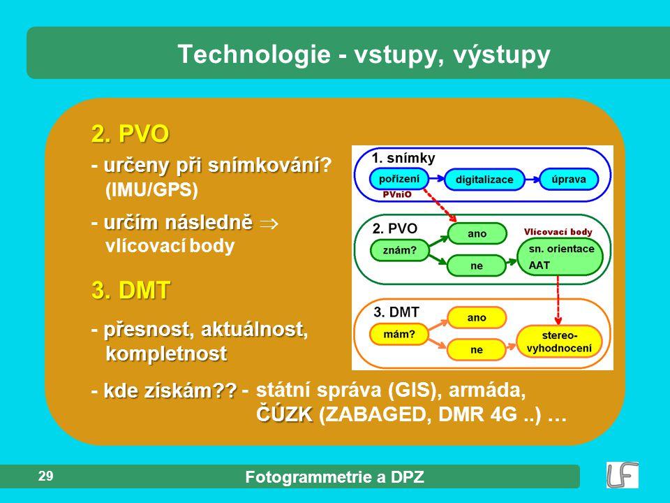 Fotogrammetrie a DPZ 29 3. DMT přesnostaktuálnost kompletnost - přesnost, aktuálnost, kompletnost kde získám?? - kde získám?? Technologie - vstupy, vý