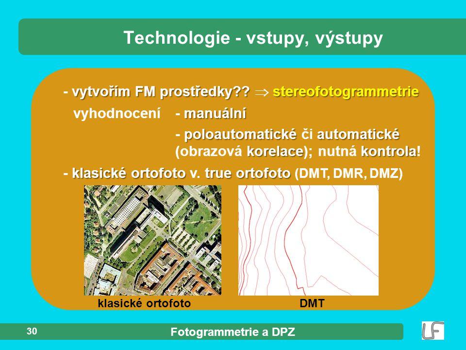 Fotogrammetrie a DPZ 30 Technologie - vstupy, výstupy vytvořím FM prostředky?? stereofotogrammetrie - vytvořím FM prostředky??  stereofotogrammetrie