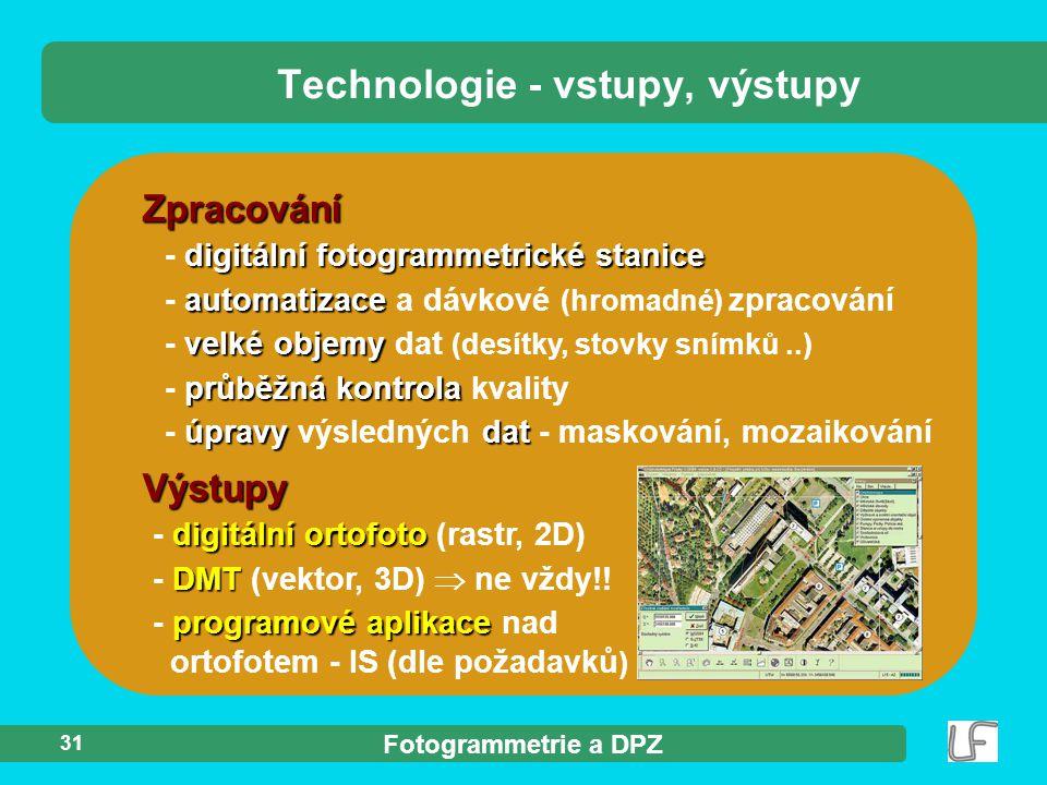 Fotogrammetrie a DPZ 31 Zpracování digitální fotogrammetrické stanice - digitální fotogrammetrické stanice automatizace - automatizace a dávkové (hrom