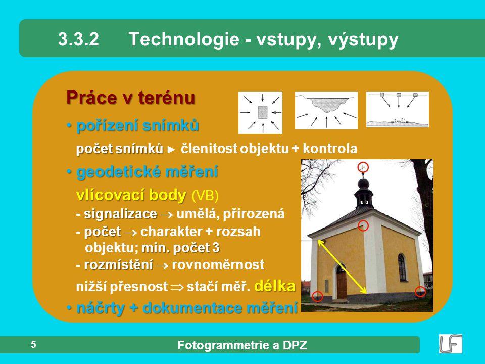 Fotogrammetrie a DPZ 5 Práce v terénu pořízení snímků pořízení snímků počet snímků počet snímků ► členitost objektu + kontrola 3.3.2Technologie - vstu