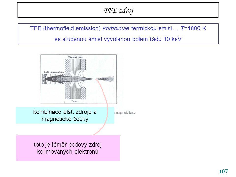 107 TFE zdroj TFE (thermofield emission) kombinuje termickou emisi... T=1800 K se studenou emisí vyvolanou polem řádu 10 keV kombinace elst. zdroje a