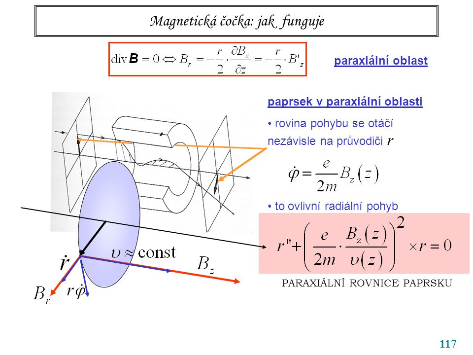 117 Magnetická čočka: jak funguje paprsek v paraxiální oblasti rovina pohybu se otáčí nezávisle na průvodiči r to ovlivní radiální pohyb paraxiální oblast PARAXIÁLNÍ ROVNICE PAPRSKU