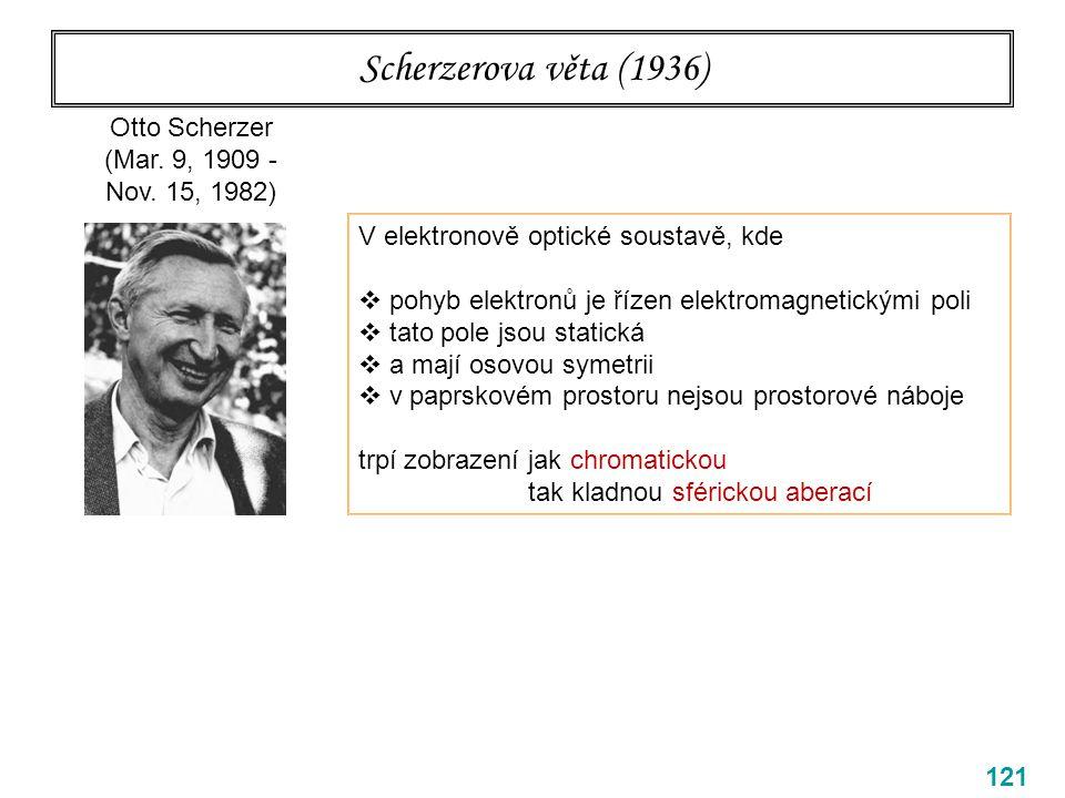 Scherzerova věta (1936) 121 Otto Scherzer (Mar. 9, 1909 - Nov. 15, 1982) V elektronově optické soustavě, kde  pohyb elektronů je řízen elektromagneti