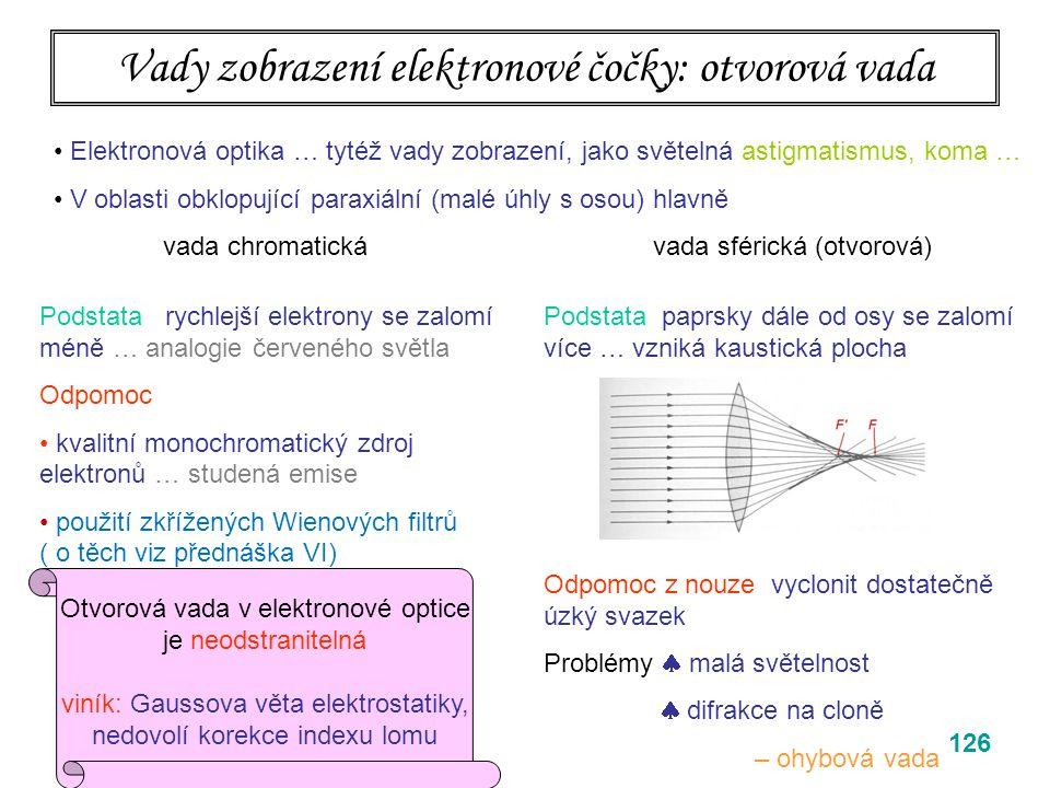 126 Vady zobrazení elektronové čočky: otvorová vada Elektronová optika … tytéž vady zobrazení, jako světelná astigmatismus, koma … V oblasti obklopující paraxiální (malé úhly s osou) hlavně vada chromatická vada sférická (otvorová) Podstata paprsky dále od osy se zalomí více … vzniká kaustická plocha Odpomoc z nouze vyclonit dostatečně úzký svazek Problémy  malá světelnost  difrakce na cloně – ohybová vada Podstata rychlejší elektrony se zalomí méně … analogie červeného světla Odpomoc kvalitní monochromatický zdroj elektronů … studená emise použití zkřížených Wienových filtrů ( o těch viz přednáška VI) Otvorová vada v elektronové optice je neodstranitelná viník: Gaussova věta elektrostatiky, nedovolí korekce indexu lomu