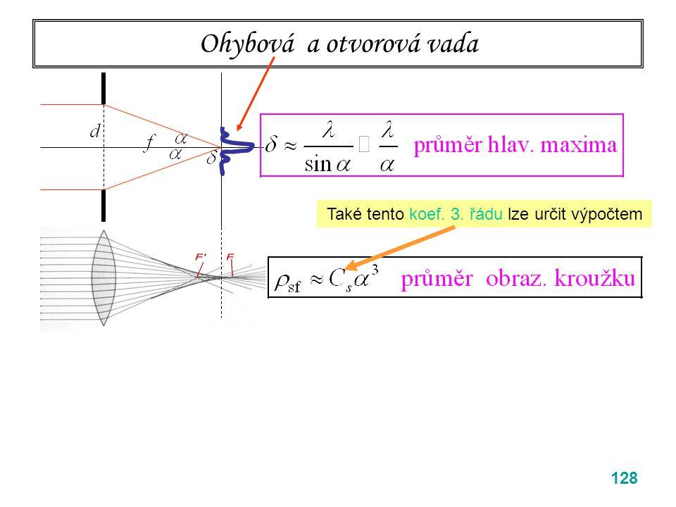 128 Ohybová a otvorová vada Také tento koef. 3. řádu lze určit výpočtem