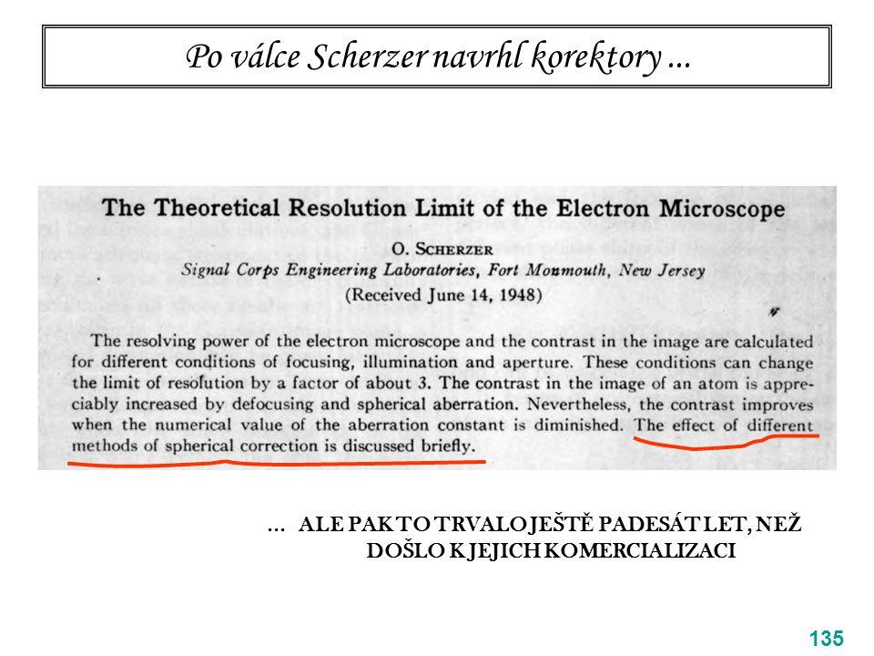 Po válce Scherzer navrhl korektory... 135... ALE PAK TO TRVALO JEŠT Ě PADESÁT LET, NE Ž DOŠLO K JEJICH KOMERCIALIZACI
