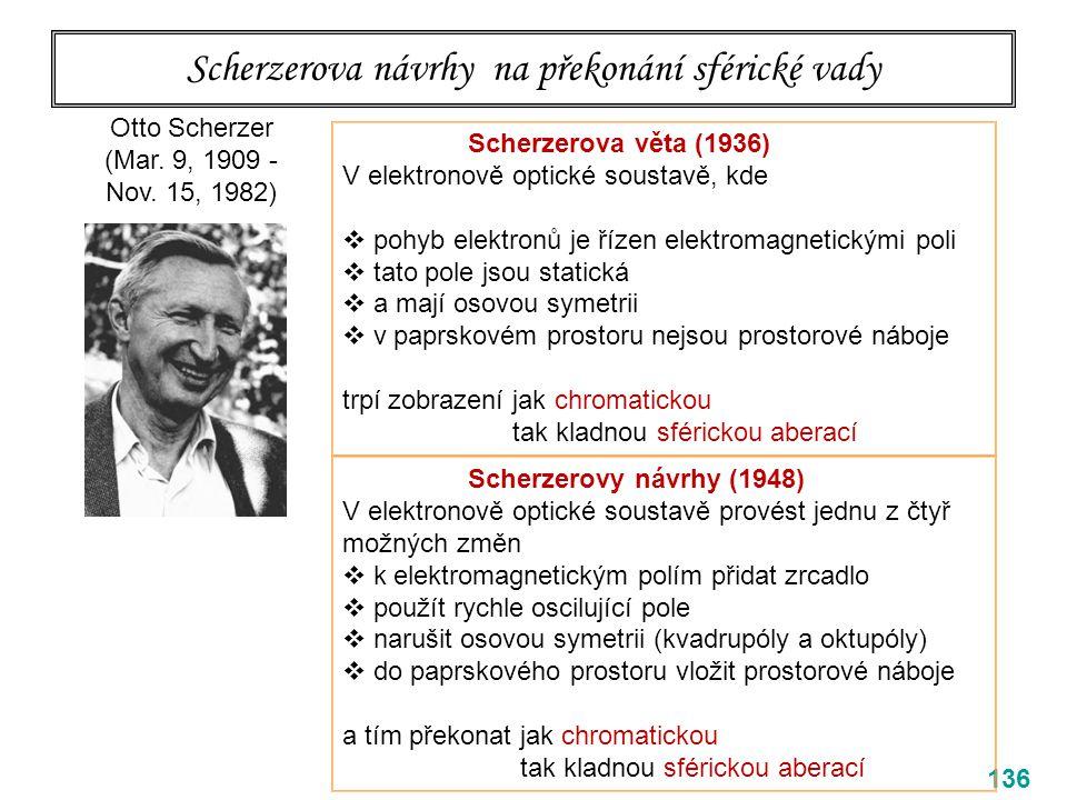 Scherzerova návrhy na překonání sférické vady 136 Otto Scherzer (Mar. 9, 1909 - Nov. 15, 1982) Scherzerova věta (1936) V elektronově optické soustavě,