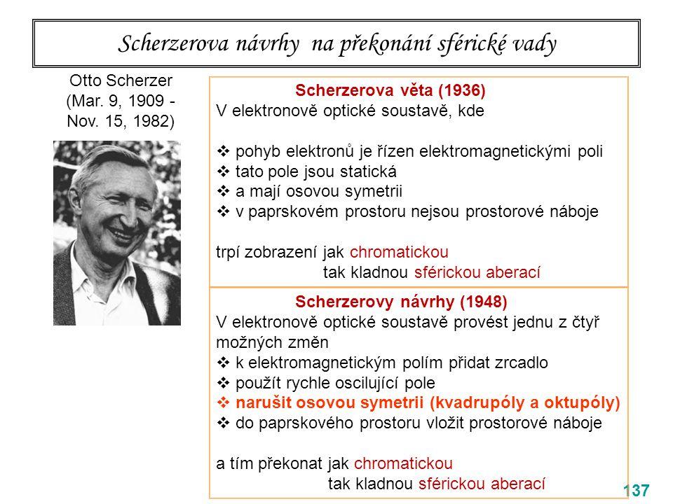Scherzerova návrhy na překonání sférické vady 137 Otto Scherzer (Mar. 9, 1909 - Nov. 15, 1982) Scherzerova věta (1936) V elektronově optické soustavě,
