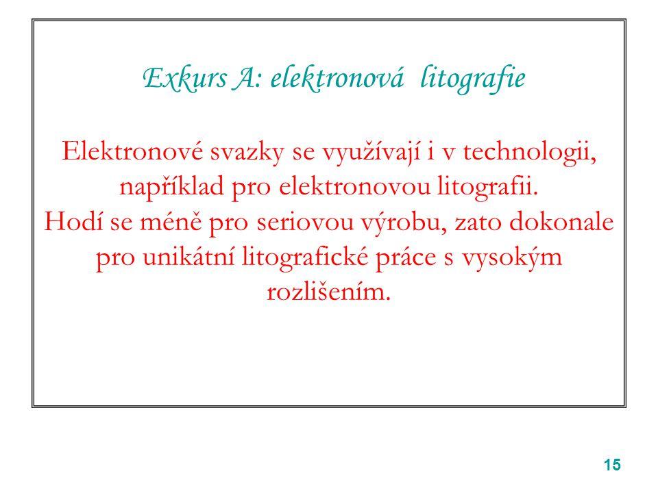 15 Exkurs A: elektronová litografie Elektronové svazky se využívají i v technologii, například pro elektronovou litografii. Hodí se méně pro seriovou