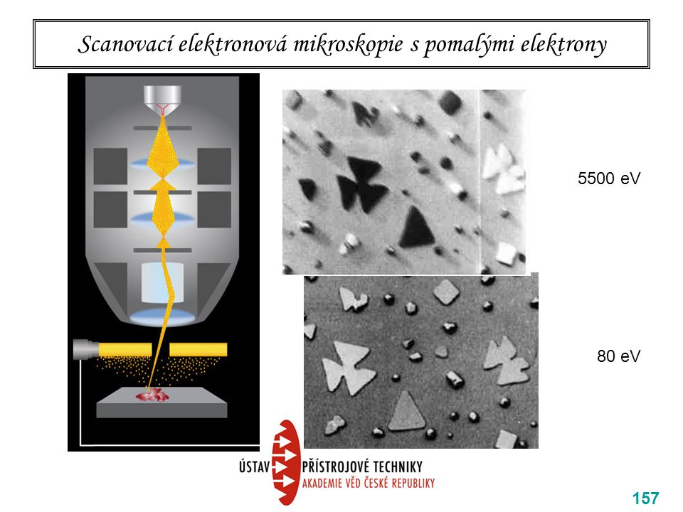 Scanovací elektronová mikroskopie s pomalými elektrony 157 5500 eV 80 eV