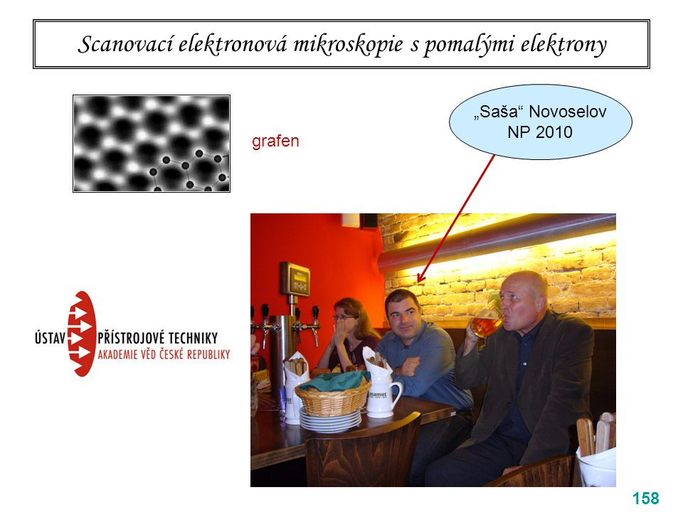 "Scanovací elektronová mikroskopie s pomalými elektrony 158 grafen ""Saša"" Novoselov NP 2010"