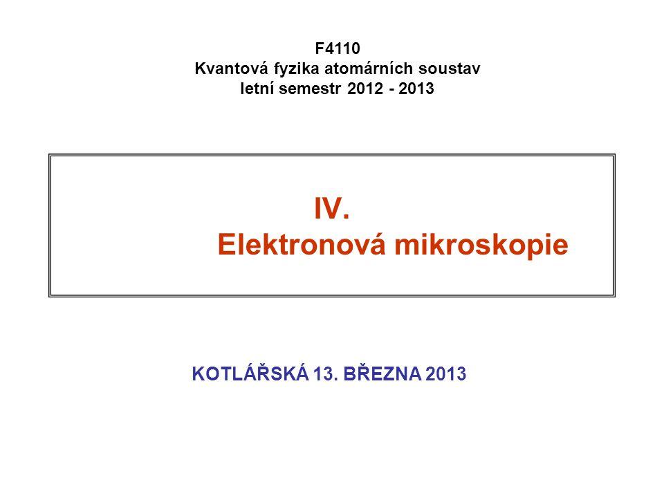 IV. Elektronová mikroskopie KOTLÁŘSKÁ 13. BŘEZNA 2013 F4110 Kvantová fyzika atomárních soustav letní semestr 2012 - 2013