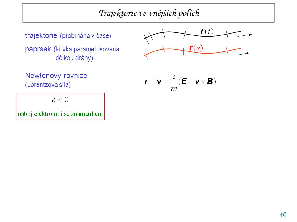 40 Trajektorie ve vnějších polích trajektorie ( probíhána v čase) paprsek ( křivka parametrisovaná délkou dráhy) Newtonovy rovnice (Lorentzova síla)