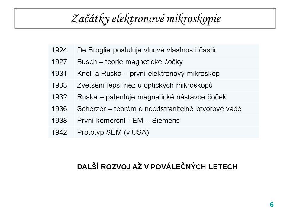 Začátky elektronové mikroskopie 6 1924De Broglie postuluje vlnové vlastnosti částic 1927Busch – teorie magnetické čočky 1931Knoll a Ruska – první elektronový mikroskop 1933Zvětšení lepší než u optických mikroskopů 193?Ruska – patentuje magnetické nástavce čoček 1936Scherzer – teorém o neodstranitelné otvorové vadě 1938První komerční TEM -- Siemens 1942Prototyp SEM (v USA) DALŠÍ ROZVOJ AŽ V POVÁLEČNÝCH LETECH