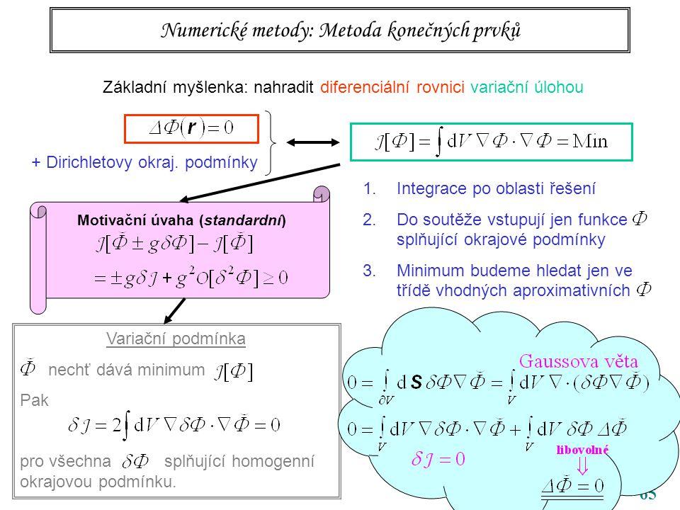 65 Numerické metody: Metoda konečných prvků Základní myšlenka: nahradit diferenciální rovnici variační úlohou + Dirichletovy okraj.