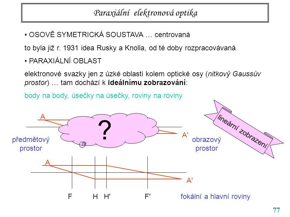 77 Paraxiální elektronová optika OSOVĚ SYMETRICKÁ SOUSTAVA … centrovaná to byla již r. 1931 idea Rusky a Knolla, od té doby rozpracovávaná PARAXIÁLNÍ