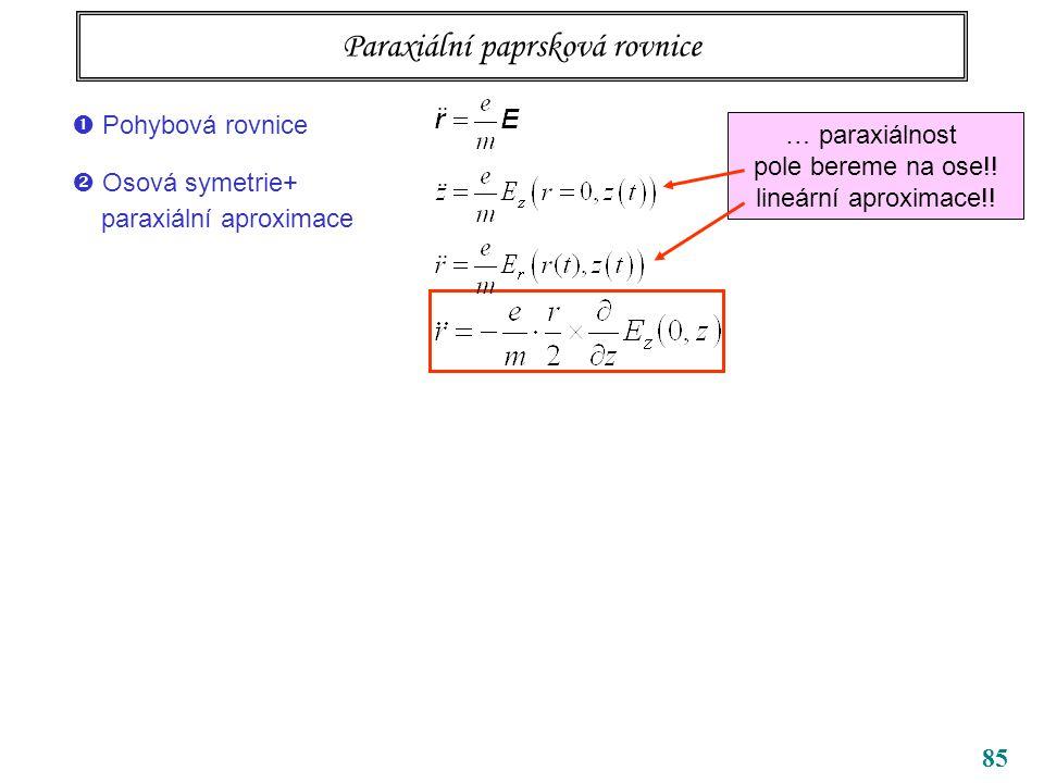 85 Paraxiální paprsková rovnice … paraxiálnost pole bereme na ose!! lineární aproximace!!  Pohybová rovnice  Osová symetrie+ paraxiální aproximace