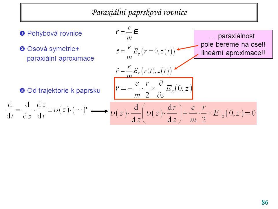 86 Paraxiální paprsková rovnice … paraxiálnost pole bereme na ose!! lineární aproximace!!  Od trajektorie k paprsku  Pohybová rovnice  Osová symetr