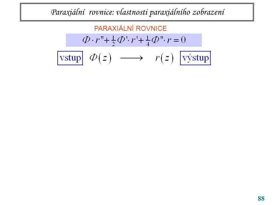 88 Paraxiální rovnice: vlastnosti paraxiálního zobrazení PARAXIÁLNÍ ROVNICE