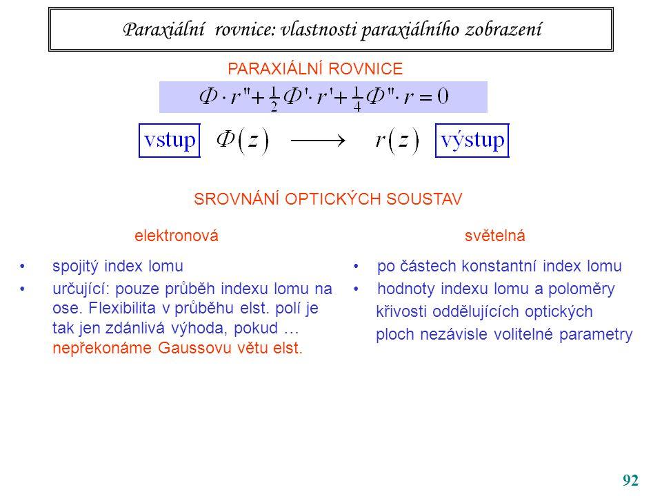 92 Paraxiální rovnice: vlastnosti paraxiálního zobrazení PARAXIÁLNÍ ROVNICE SROVNÁNÍ OPTICKÝCH SOUSTAV elektronová spojitý index lomu určující: pouze