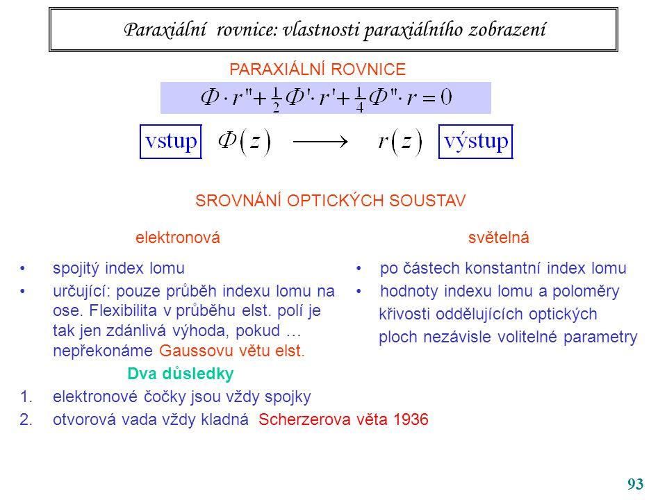93 Paraxiální rovnice: vlastnosti paraxiálního zobrazení PARAXIÁLNÍ ROVNICE SROVNÁNÍ OPTICKÝCH SOUSTAV elektronová spojitý index lomu určující: pouze průběh indexu lomu na ose.