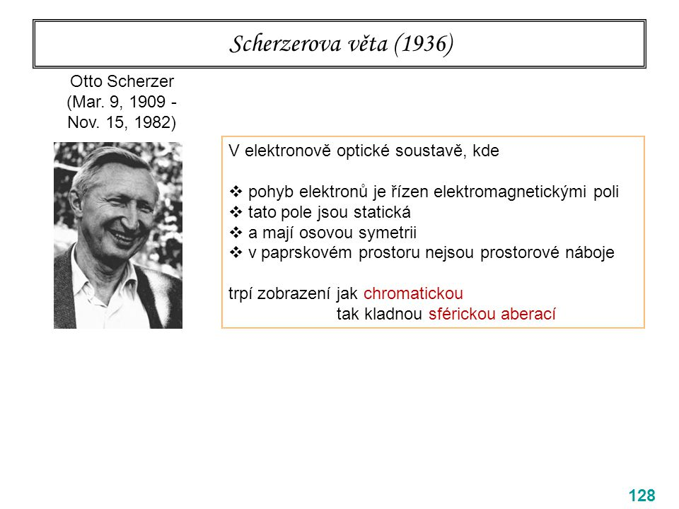 Scherzerova věta (1936) 128 Otto Scherzer (Mar. 9, 1909 - Nov. 15, 1982) V elektronově optické soustavě, kde  pohyb elektronů je řízen elektromagneti