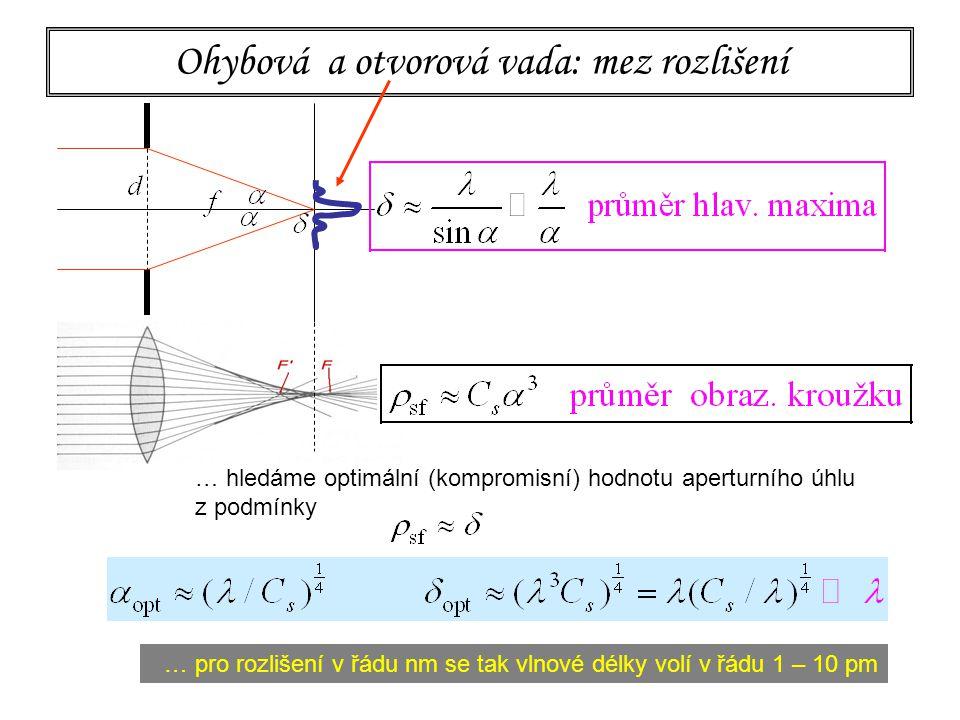 138 Ohybová a otvorová vada: mez rozlišení … hledáme optimální (kompromisní) hodnotu aperturního úhlu z podmínky … pro rozlišení v řádu nm se tak vlno