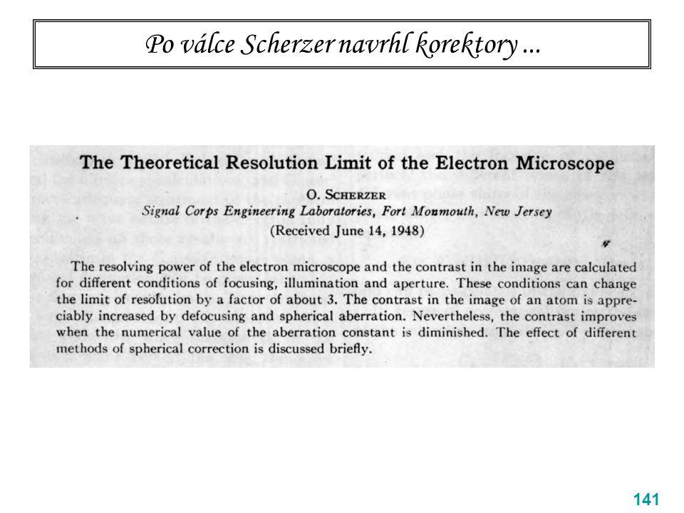 Po válce Scherzer navrhl korektory... 141