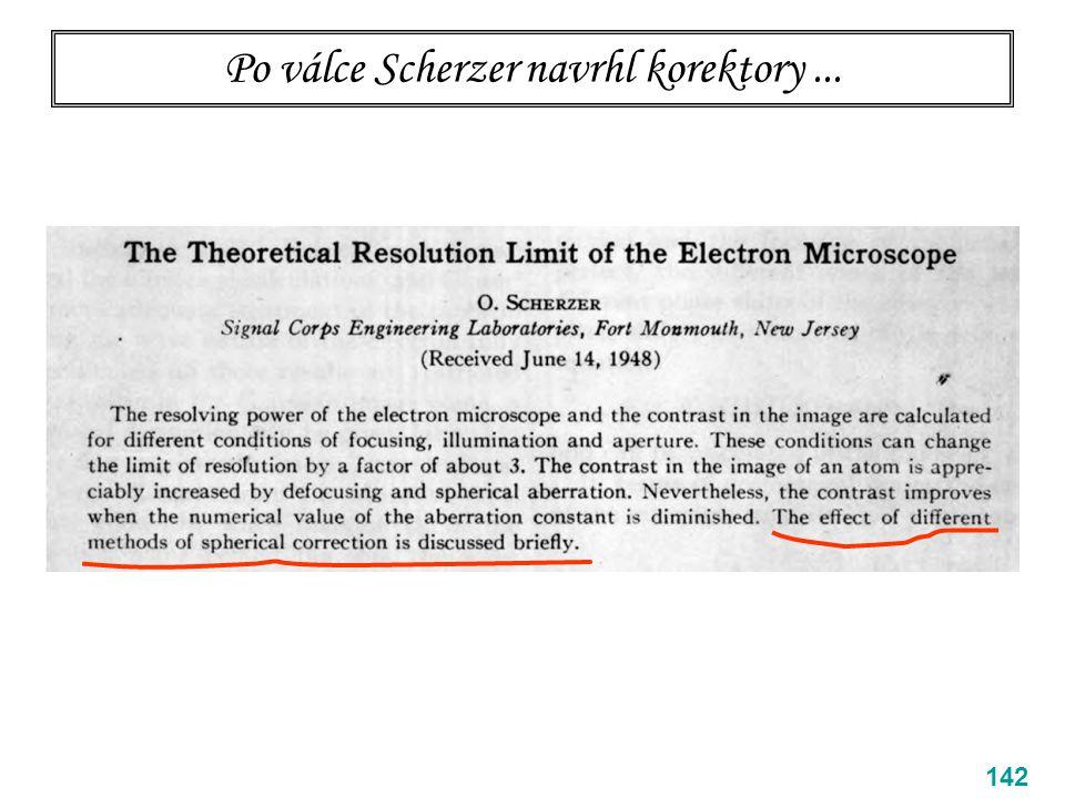 Po válce Scherzer navrhl korektory... 142