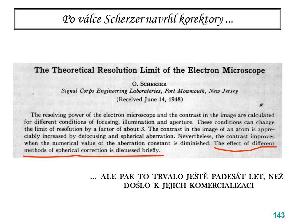 Po válce Scherzer navrhl korektory... 143... ALE PAK TO TRVALO JEŠT Ě PADESÁT LET, NE Ž DOŠLO K JEJICH KOMERCIALIZACI