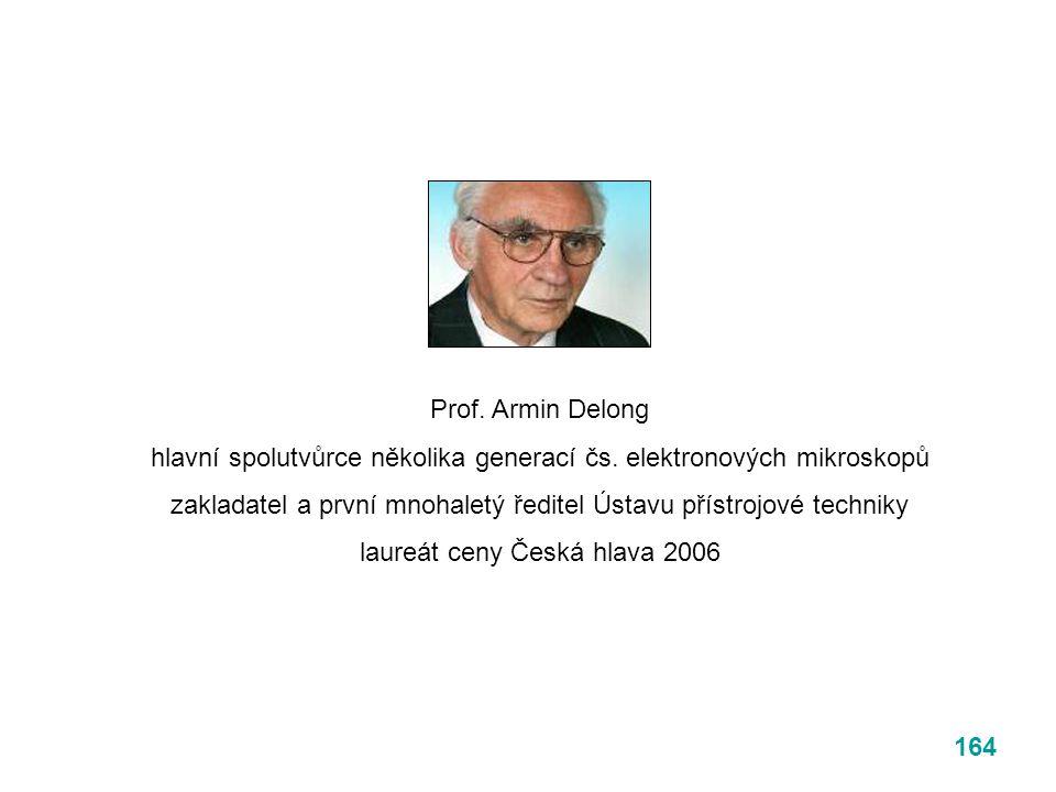 164 Prof. Armin Delong hlavní spolutvůrce několika generací čs. elektronových mikroskopů zakladatel a první mnohaletý ředitel Ústavu přístrojové techn
