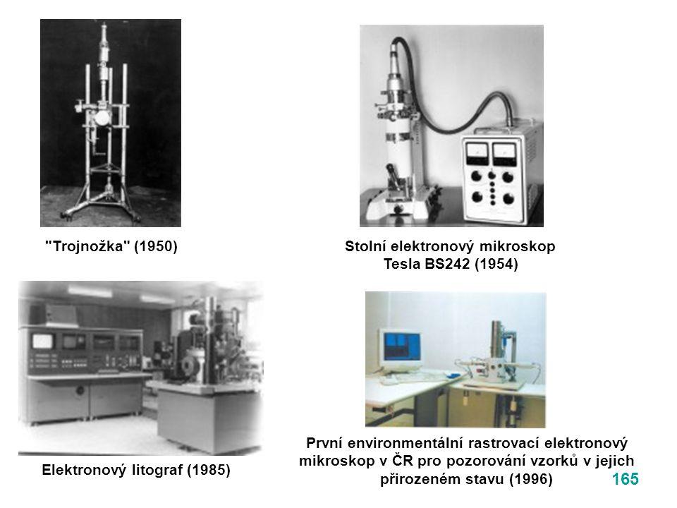 165 Stolní elektronový mikroskop Tesla BS242 (1954) Trojnožka (1950) Elektronový litograf (1985) První environmentální rastrovací elektronový mikroskop v ČR pro pozorování vzorků v jejich přirozeném stavu (1996)