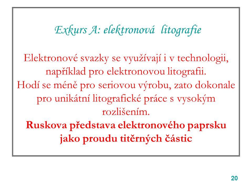 20 Exkurs A: elektronová litografie Elektronové svazky se využívají i v technologii, například pro elektronovou litografii. Hodí se méně pro seriovou