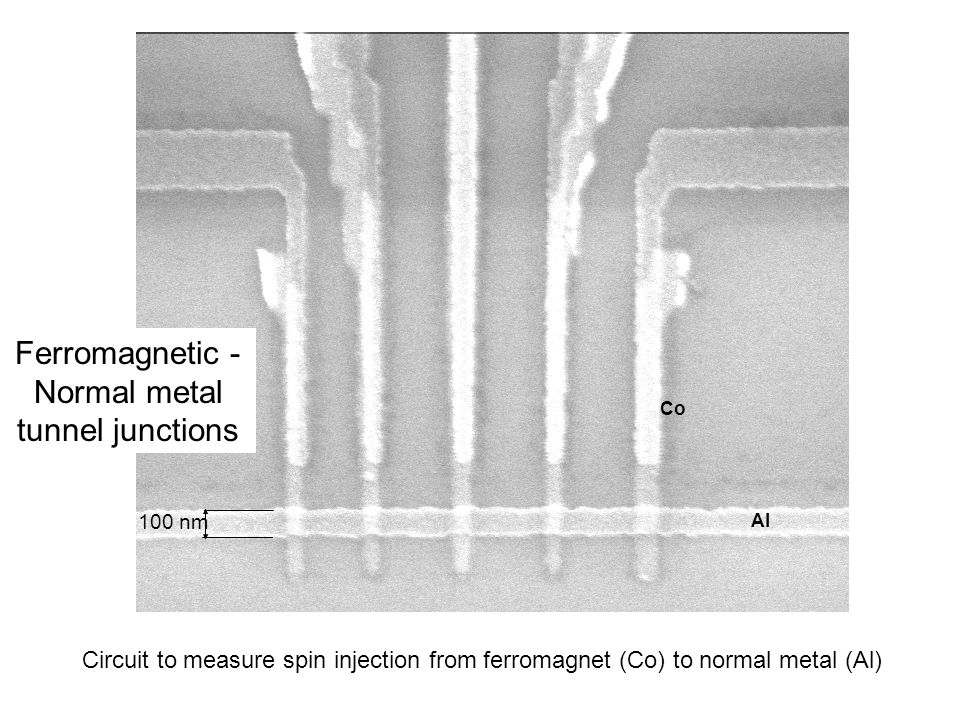 100 nm Al Co Circuit to measure spin injection from ferromagnet (Co) to normal metal (Al) Ferromagnetic - Normal metal tunnel junctions