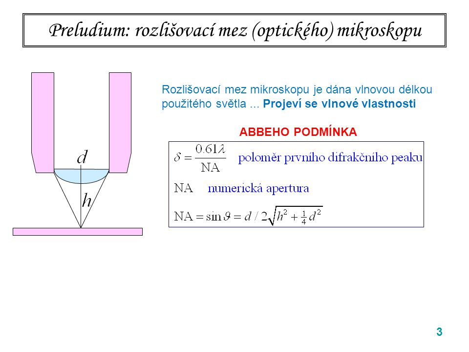 Preludium: rozlišovací mez (optického) mikroskopu 3 Rozlišovací mez mikroskopu je dána vlnovou délkou použitého světla... Projeví se vlnové vlastnosti