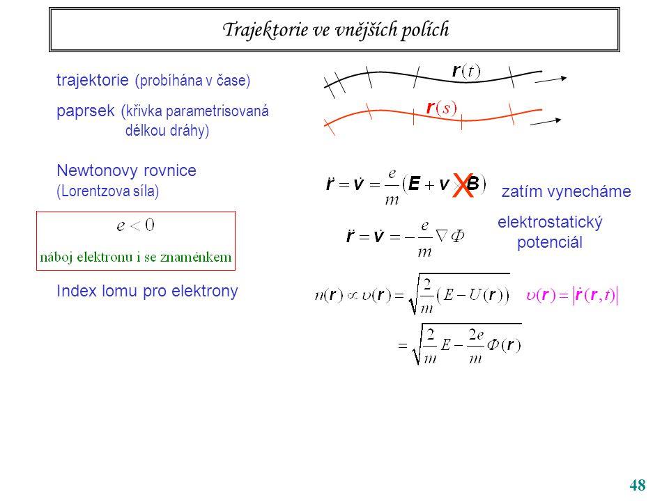 48 Trajektorie ve vnějších polích trajektorie ( probíhána v čase) paprsek ( křivka parametrisovaná délkou dráhy) Newtonovy rovnice (Lorentzova síla) Index lomu pro elektrony X zatím vynecháme elektrostatický potenciál