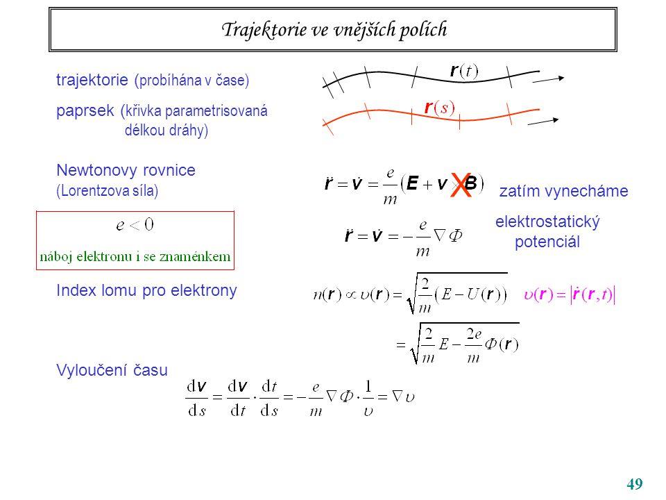49 Trajektorie ve vnějších polích trajektorie ( probíhána v čase) paprsek ( křivka parametrisovaná délkou dráhy) Newtonovy rovnice (Lorentzova síla) Index lomu pro elektrony Vyloučení času X zatím vynecháme elektrostatický potenciál