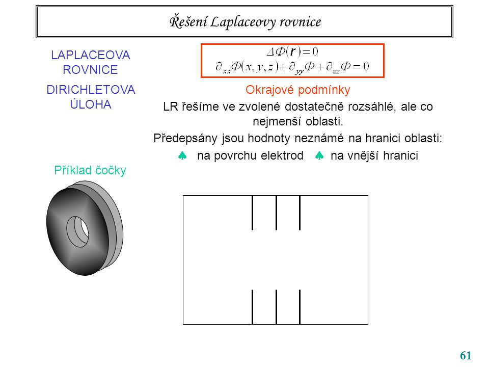 61 Řešení Laplaceovy rovnice LAPLACEOVA ROVNICE DIRICHLETOVA ÚLOHA Okrajové podmínky LR řešíme ve zvolené dostatečně rozsáhlé, ale co nejmenší oblasti