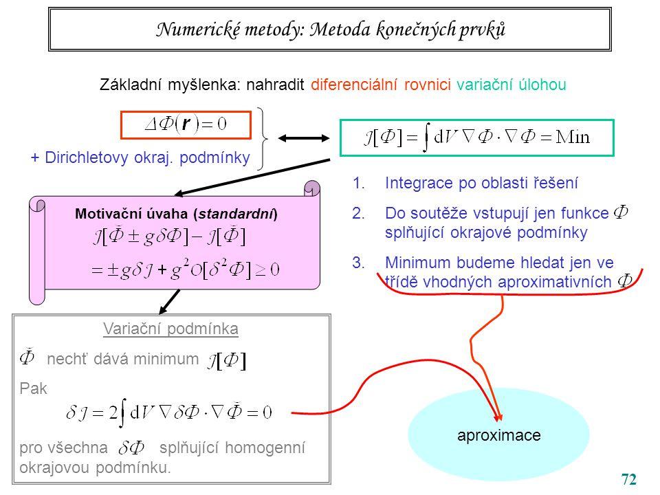 aproximace 72 Numerické metody: Metoda konečných prvků Základní myšlenka: nahradit diferenciální rovnici variační úlohou + Dirichletovy okraj.