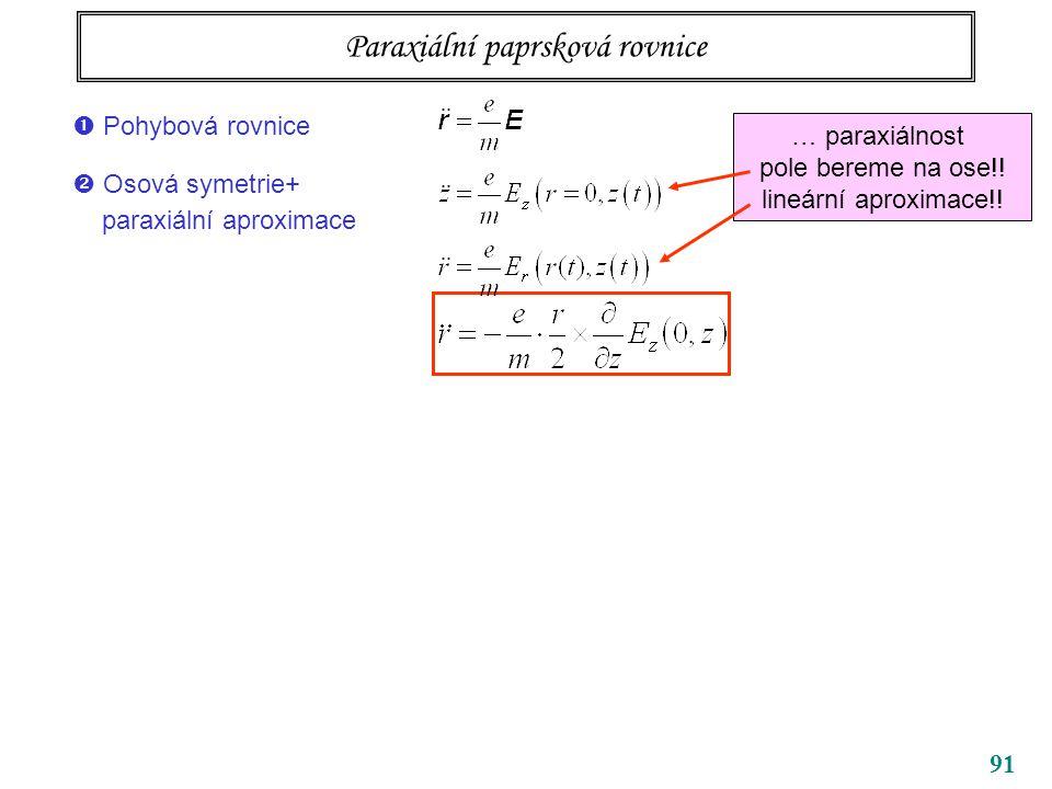 91 Paraxiální paprsková rovnice … paraxiálnost pole bereme na ose!! lineární aproximace!!  Pohybová rovnice  Osová symetrie+ paraxiální aproximace