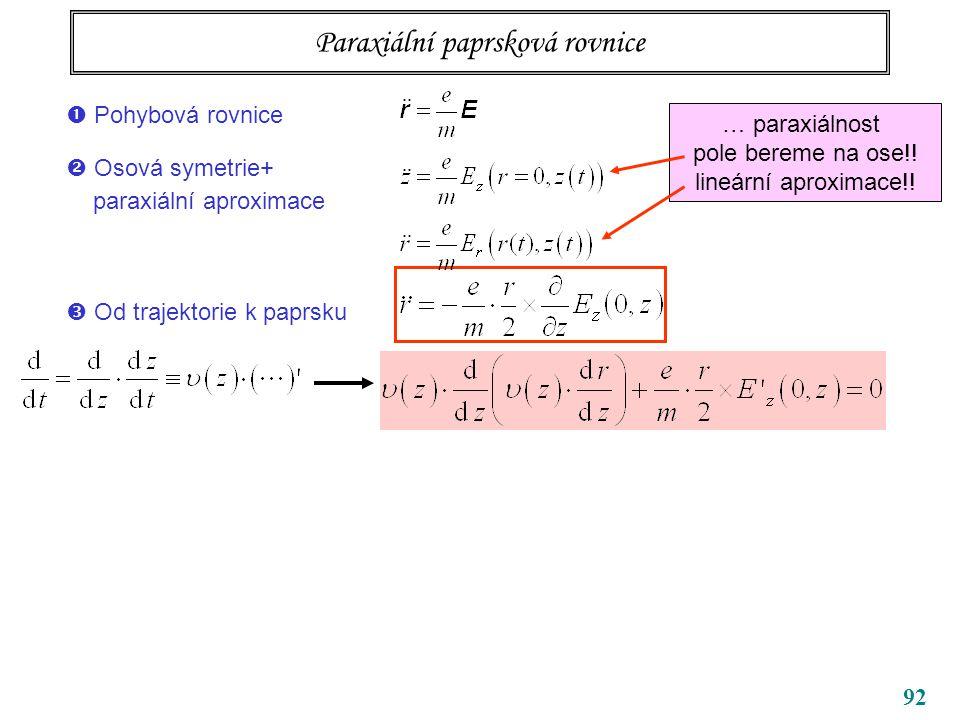 92 Paraxiální paprsková rovnice … paraxiálnost pole bereme na ose!! lineární aproximace!!  Od trajektorie k paprsku  Pohybová rovnice  Osová symetr