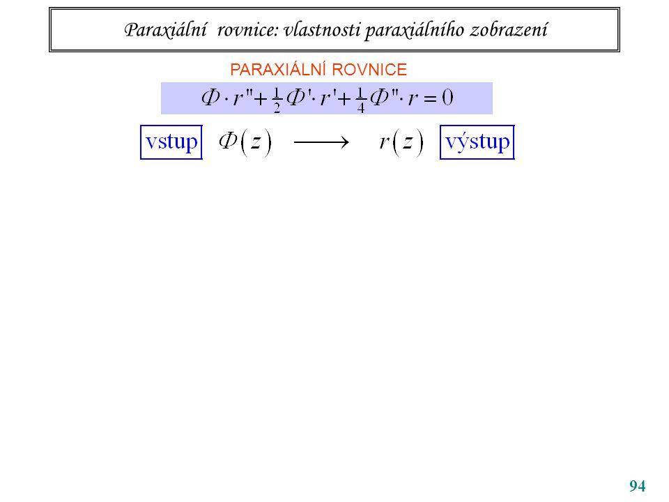 94 Paraxiální rovnice: vlastnosti paraxiálního zobrazení PARAXIÁLNÍ ROVNICE