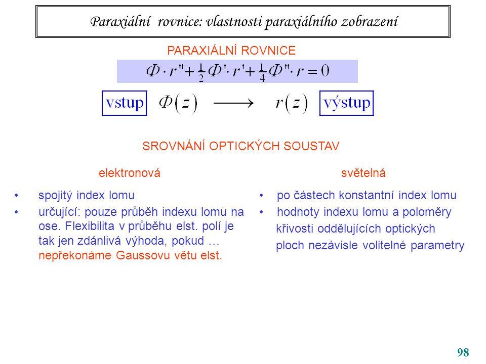98 Paraxiální rovnice: vlastnosti paraxiálního zobrazení PARAXIÁLNÍ ROVNICE SROVNÁNÍ OPTICKÝCH SOUSTAV elektronová spojitý index lomu určující: pouze průběh indexu lomu na ose.