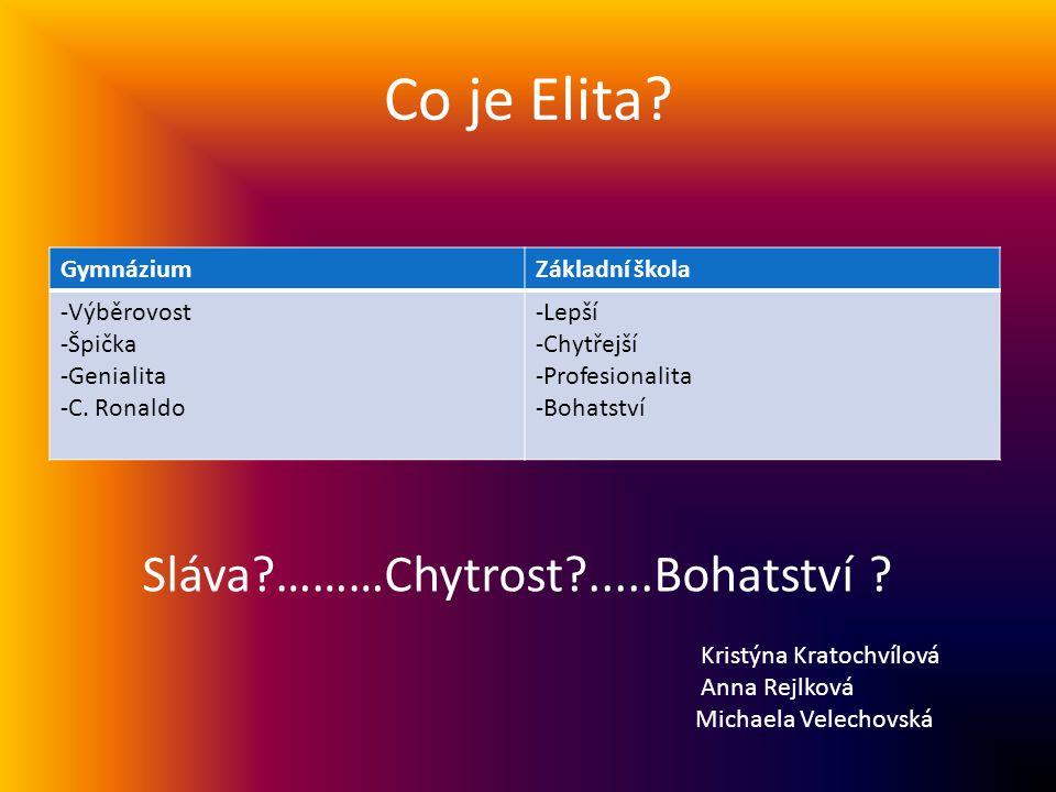Co je Elita. GymnáziumZákladní škola -Výběrovost -Špička -Genialita -C.