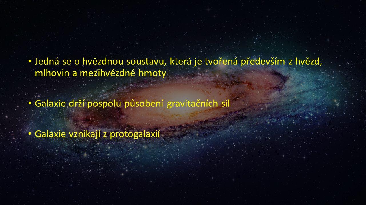 Jedná se o hvězdnou soustavu, která je tvořená především z hvězd, mlhovin a mezihvězdné hmoty Galaxie drží pospolu působení gravitačních sil Galaxie vznikají z protogalaxií