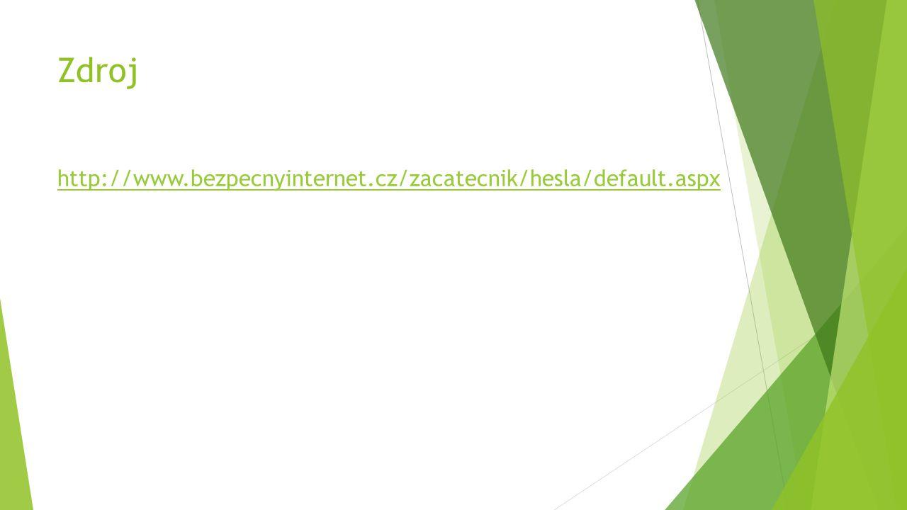 Zdroj http://www.bezpecnyinternet.cz/zacatecnik/hesla/default.aspx